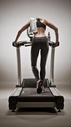 跑步机 运动 女孩 背影 健身