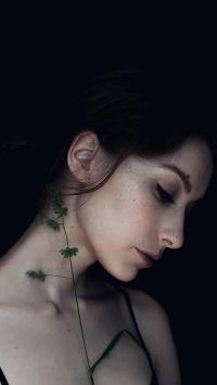 欧美 雀斑美女 侧颜 性感锁骨