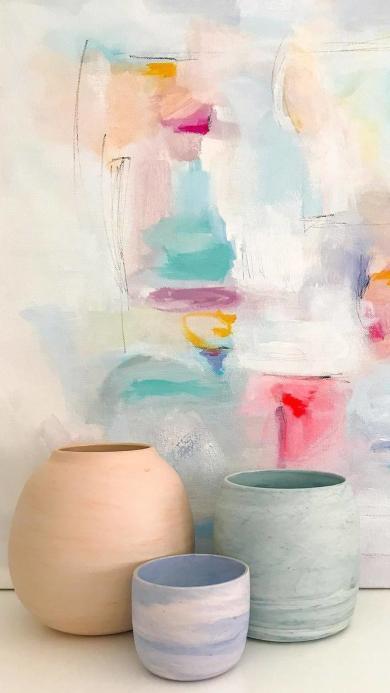 艺术 彩色画布 手工花瓶