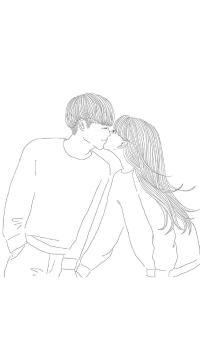 手绘 创意 情侣 情感 亲吻