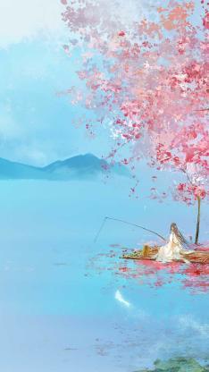 手绘古风壁纸 唯美 桃花 白衣 垂钓