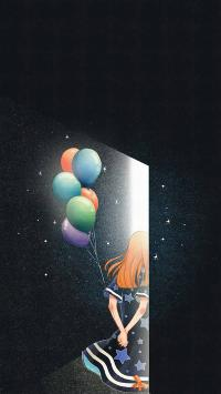 唯美 情侣插画 女孩背影 气球