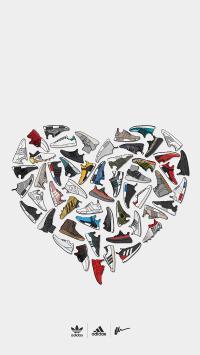 运动鞋 平铺 阿迪达斯 三叶草 爱心 品牌