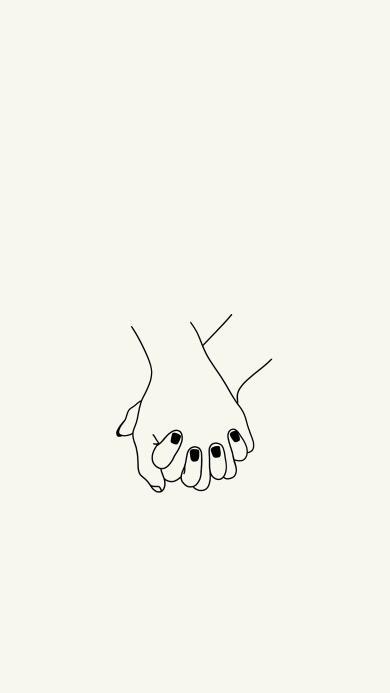 十指相扣 黑白 简笔画 爱情 情侣