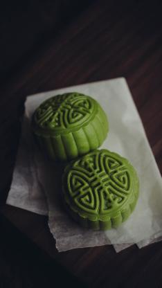 月饼 中秋节 传统 佳节 抹茶绿