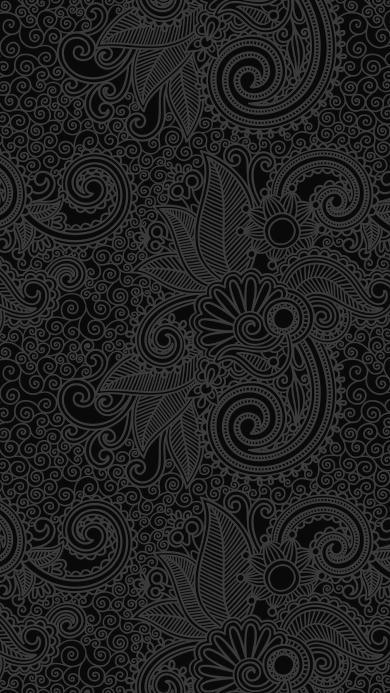 花纹 黑色 印花 纹饰 卷草纹
