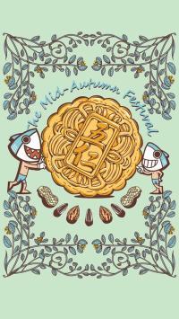 中秋节 月饼 五仁 卡通