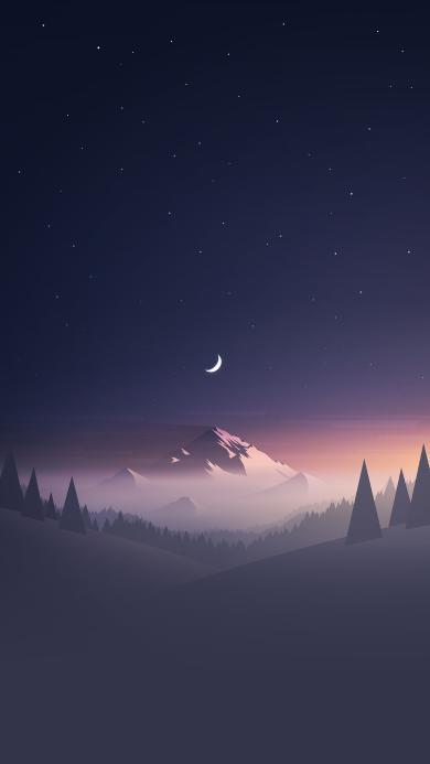 月夜 雪山 唯美 月亮 树木