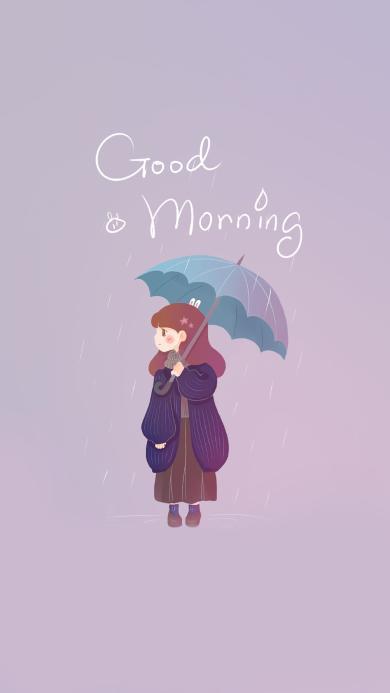 good morning  早上好 女孩 插画 雨伞