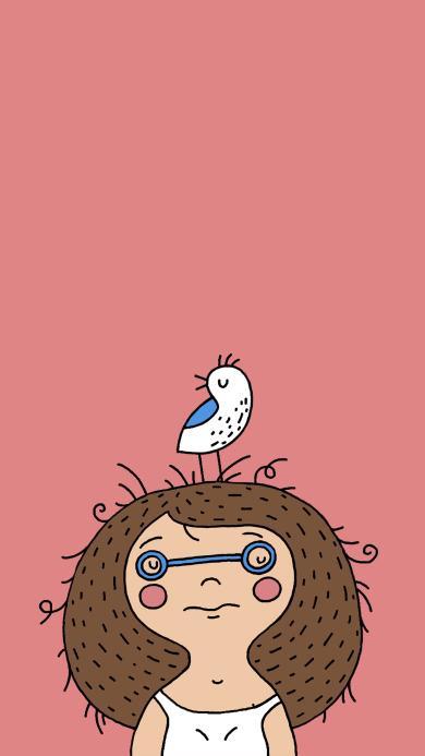 小女孩 卷毛 眼镜 小鸟 插画 粉色