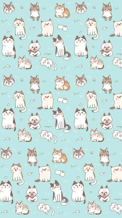 猫咪 喵星人 平铺 蓝色 可爱