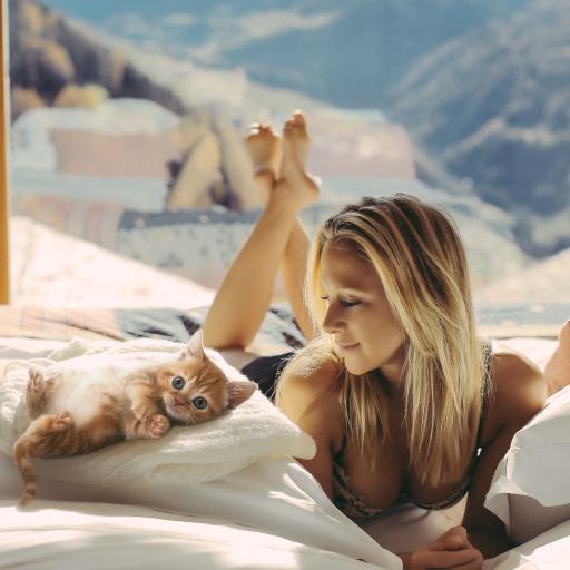 清晨 阳光 欧美 女孩 猫咪 可爱 被窝