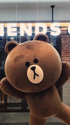 布朗熊 娃娃 卡通 可爱 line friends