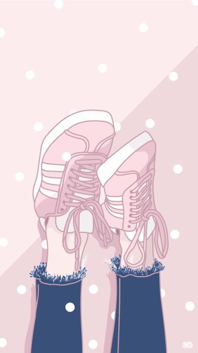 创意 粉 鞋 绘画