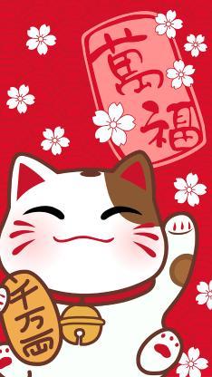 招财猫 红色 樱花 万福 铃铛