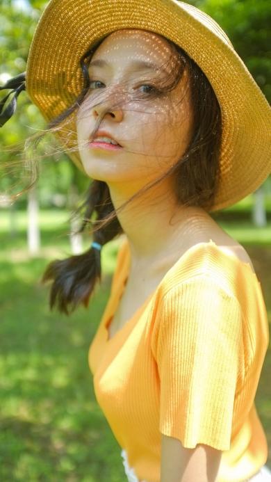 女生 美女 草帽 清纯