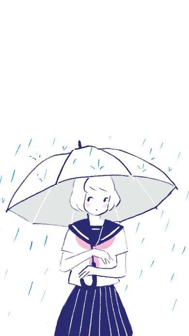 雨 撑伞 学生 女孩 插画