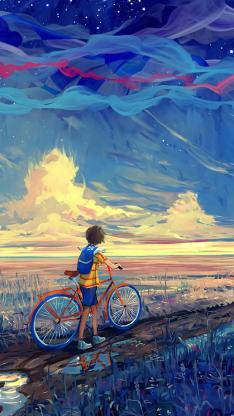 油画 手绘 创意 插画 单车 男孩