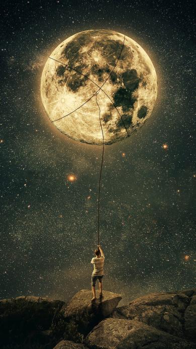 创意 月球 星空 唯美 拉扯