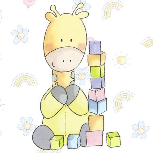 手绘长颈鹿 童真 彩虹 礼物盒
