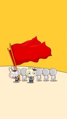 创意 情感 节日 举旗