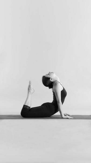 瑜伽 健身 塑性 黑白 女