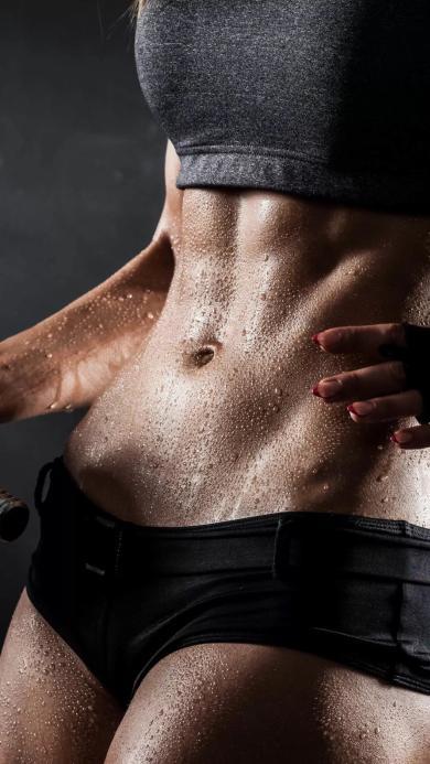 马甲线 腹肌 运动 健身 汗水
