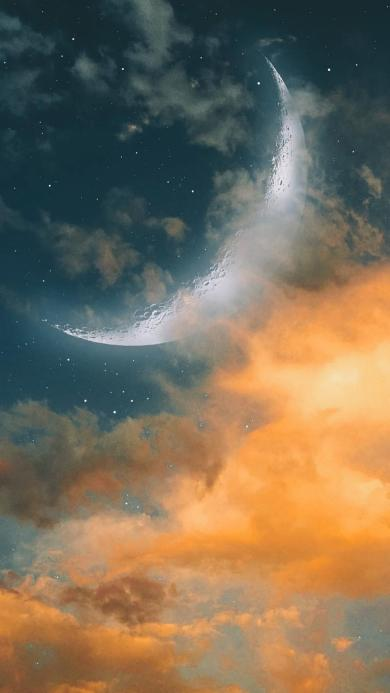 云彩 月球 星空 晚霞