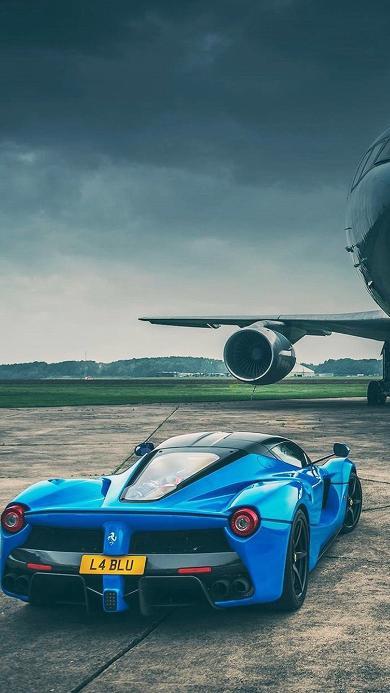 法拉利 超级跑车 炫酷 机场 飞机