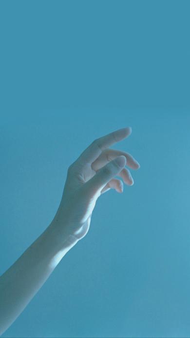 手控 唯美 蓝色 伸手