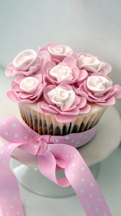 烘焙甜品 纸杯蛋糕 粉色斑点丝带