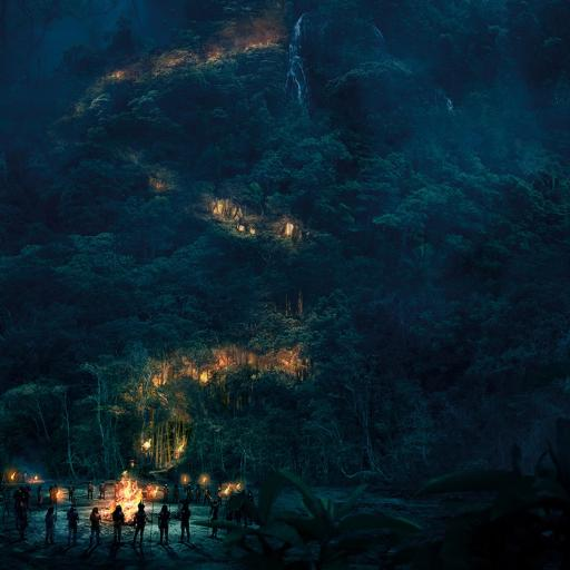 山林 篝火 山路 夜晚