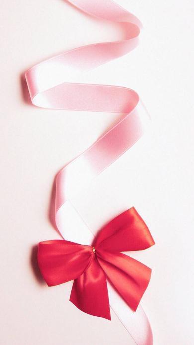 纯色背景 粉色丝带 大红蝴蝶结