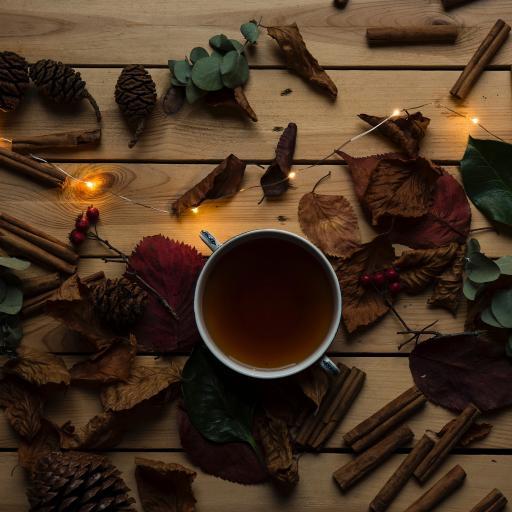 松果 灯光 茶水 树叶