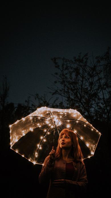 夜晚 雨伞 创意 灯光