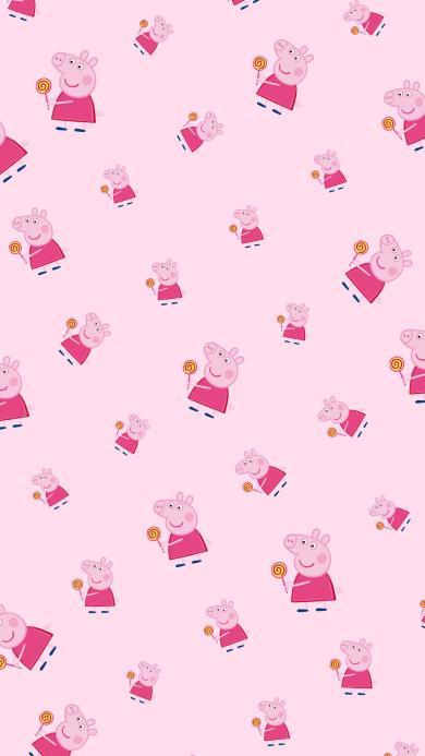 小猪佩奇 粉色 平铺 波板糖 动画 卡通 可爱