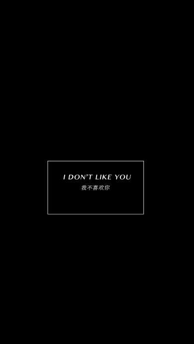 我不喜欢你 i don't like you 黑白 英文