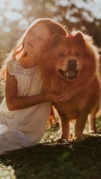 欧美小女孩 萌宠 宠物狗