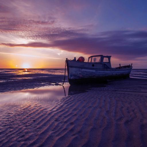 船 风景 落日 夕阳
