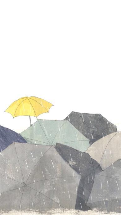 伞 插画 雨水 黄色