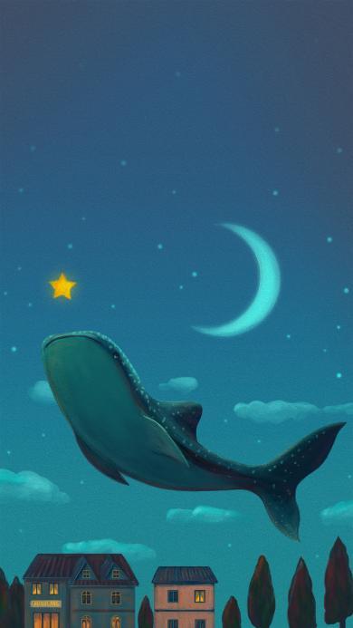 鲸鱼插画 夜空 星星 月亮