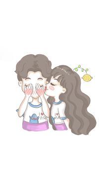 情侣 亲吻 手绘 创意