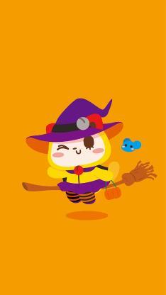 万圣节 夏萌猫 黄色 扮鬼 巫婆 卡通