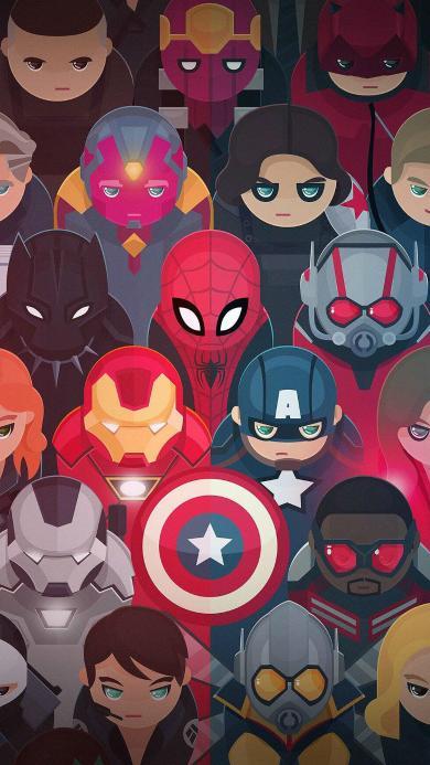 超级英雄 漫威 美国队长 蜘蛛侠 金刚狼 幻视 钢铁侠 Q版