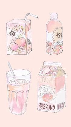 粉色背景 手绘 桃味饮料