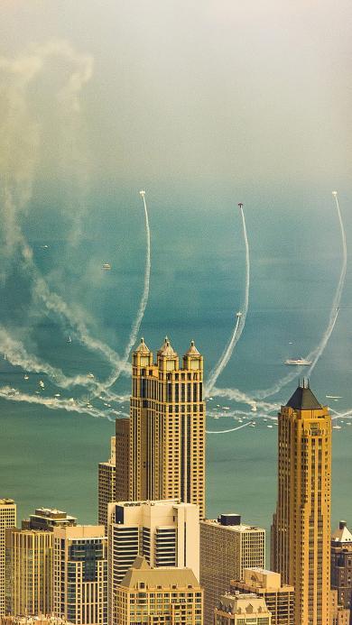城市 高楼大厦 飞机 蓝天