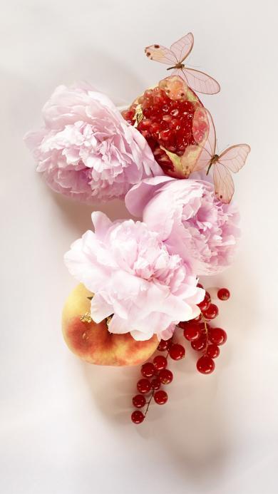 粉色鮮花 薔薇 石榴 桃子 小漿果