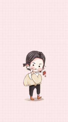 粉色 格子背景 手绘情侣 男孩