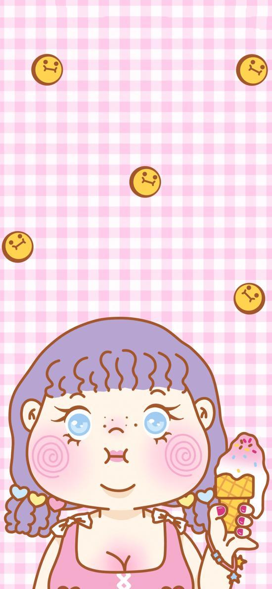 粉色背景 卡通小女孩 冰淇淋 表情包