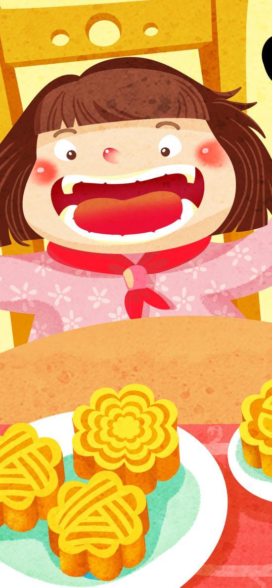 吃月餅 女孩 大嘴 中秋 插畫